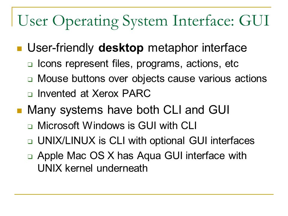 User Operating System Interface: GUI