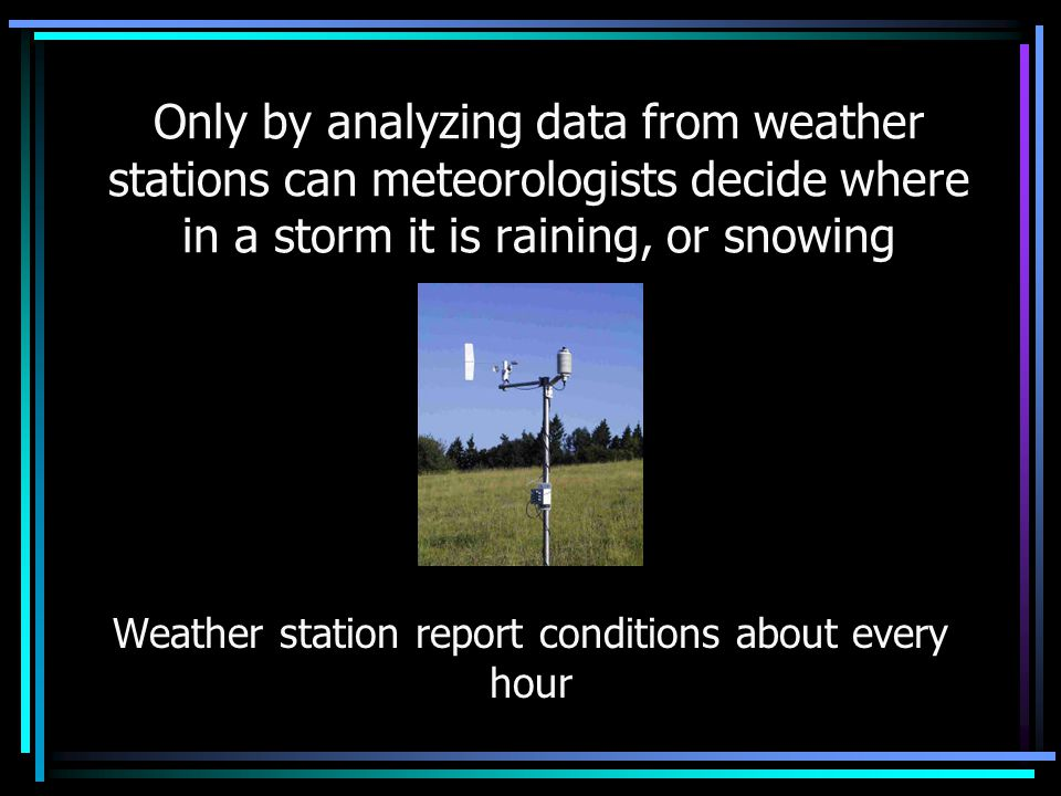 Weather station report conditions about every hour