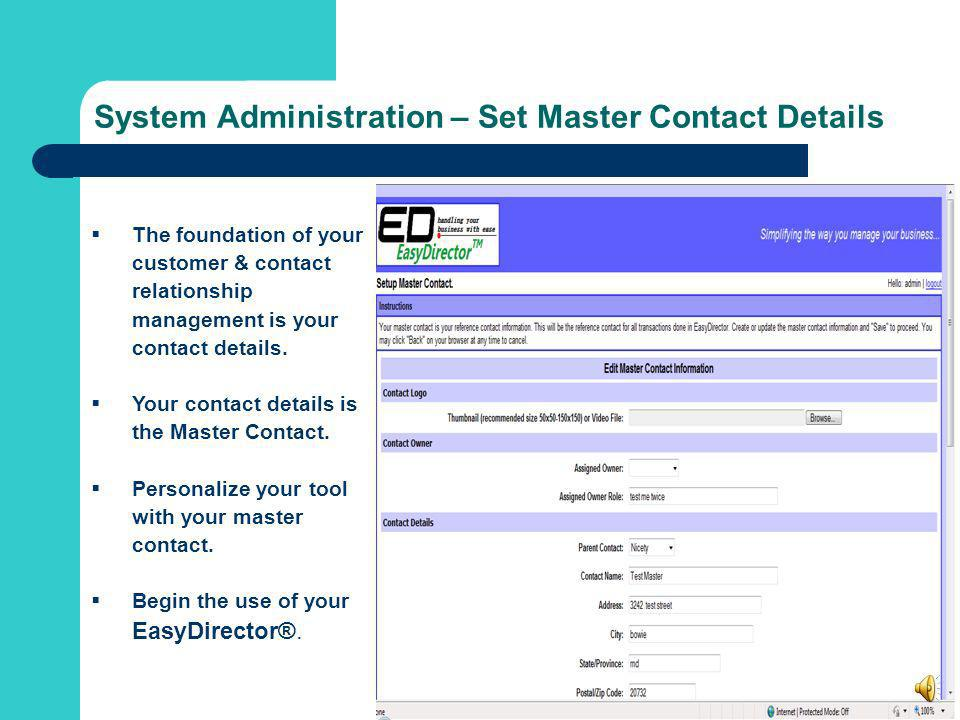System Administration – Set Master Contact Details