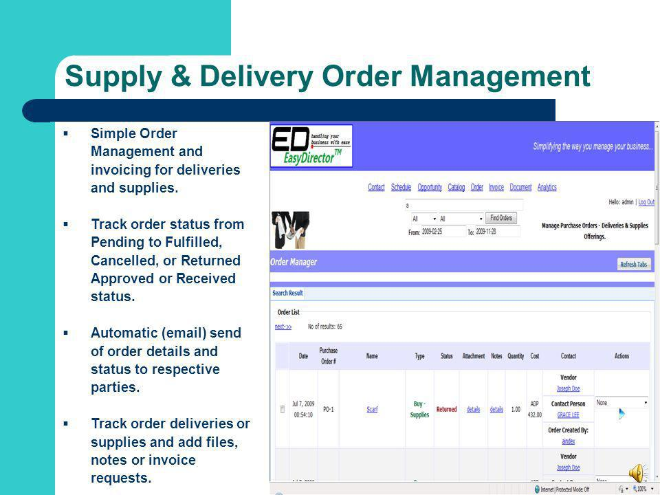 Supply & Delivery Order Management