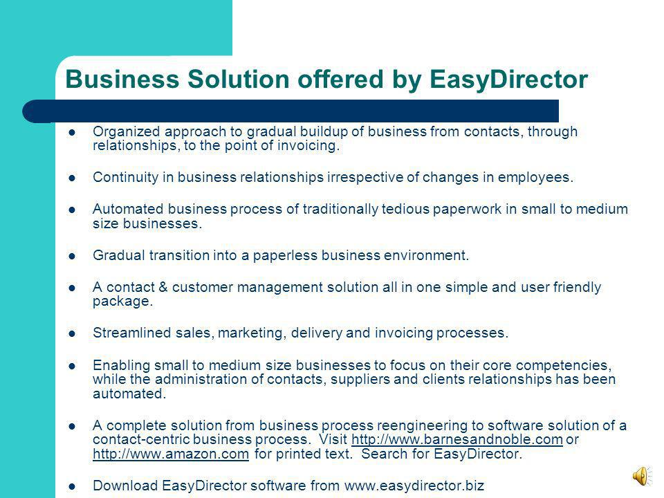 Business Solution offered by EasyDirector