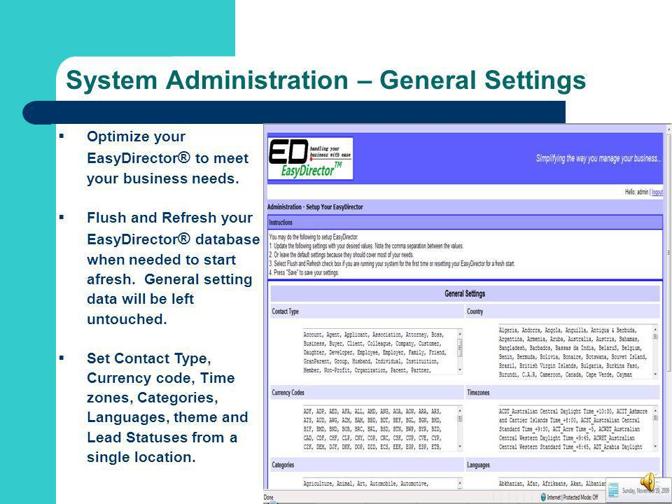 System Administration – General Settings