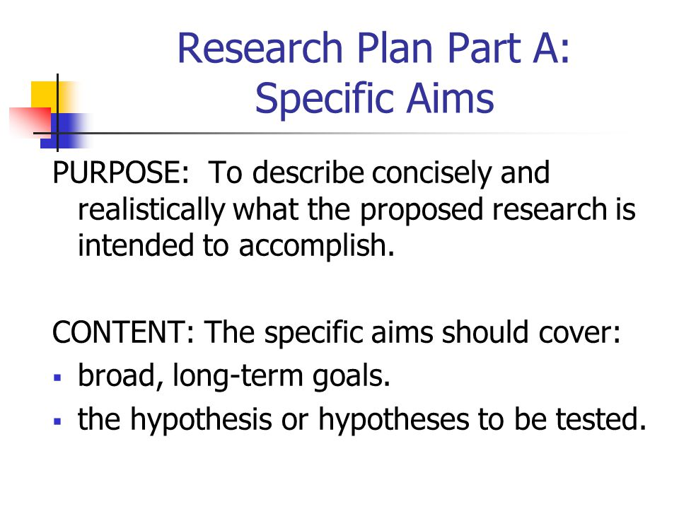 Research Plan Part A: Specific Aims