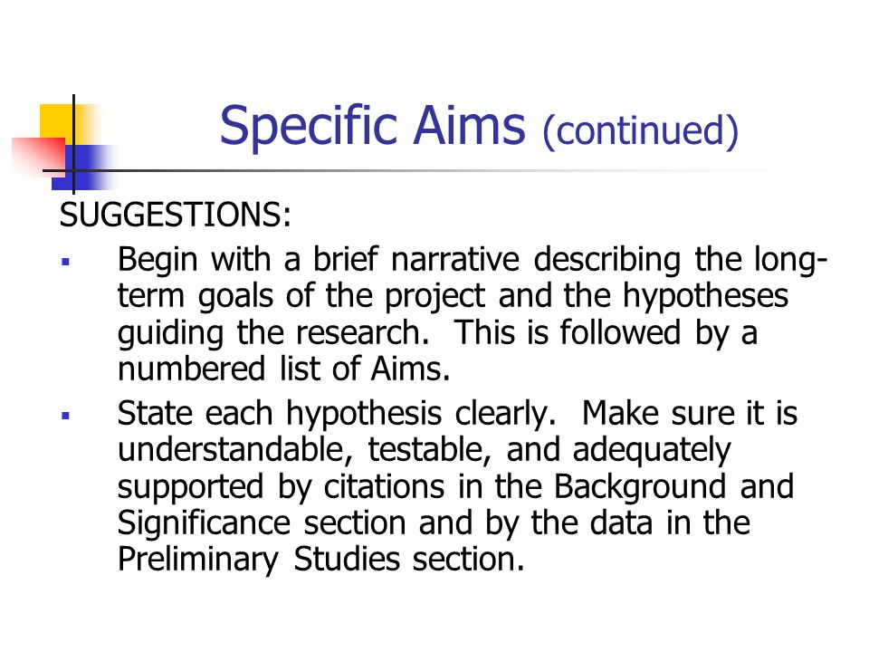 Specific Aims (continued)