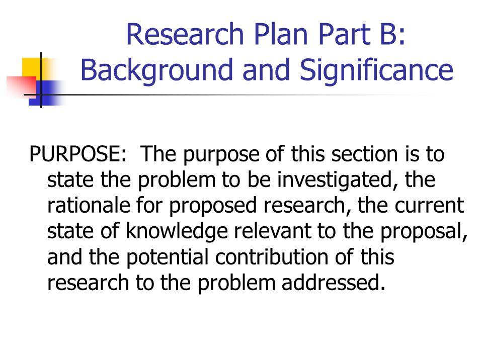 Research Plan Part B: Background and Significance