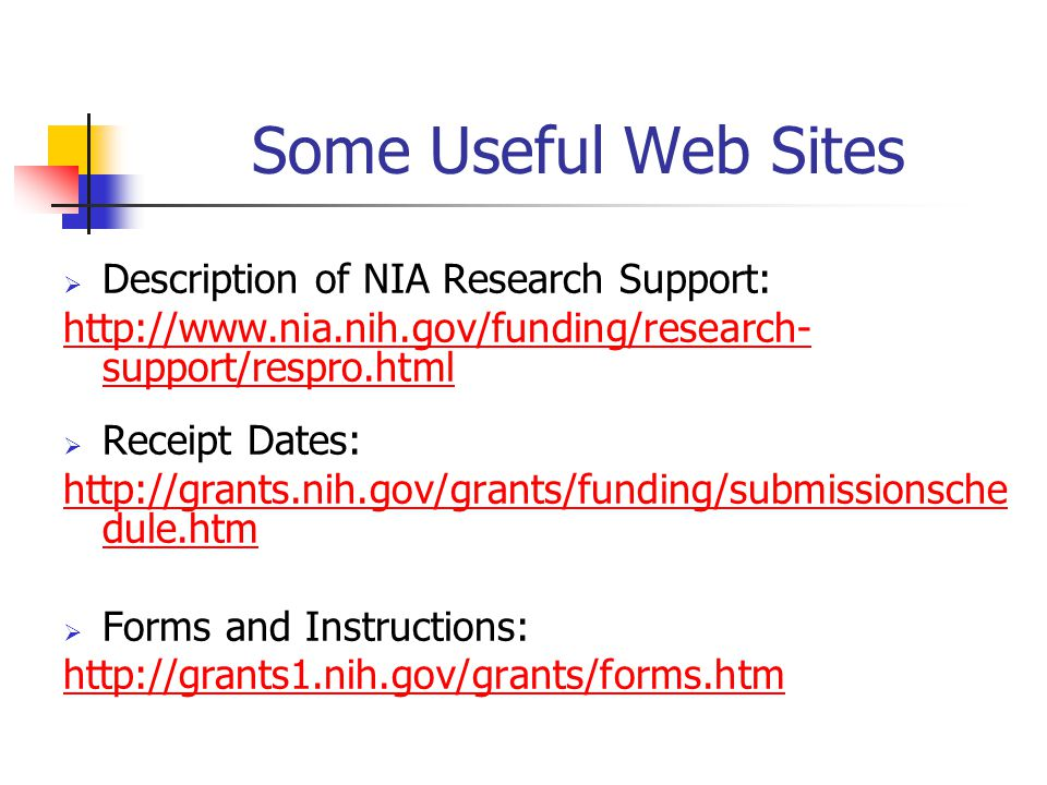 Some Useful Web Sites Description of NIA Research Support: