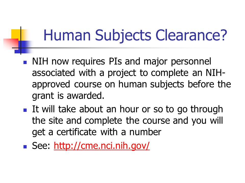 Human Subjects Clearance