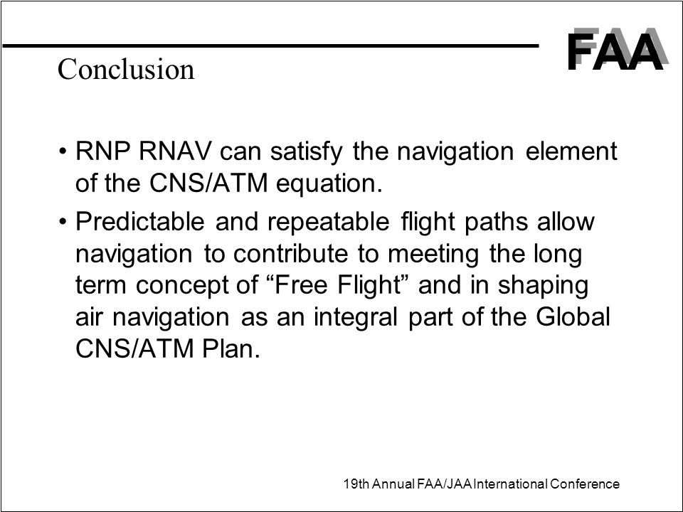 Conclusion RNP RNAV can satisfy the navigation element of the CNS/ATM equation.