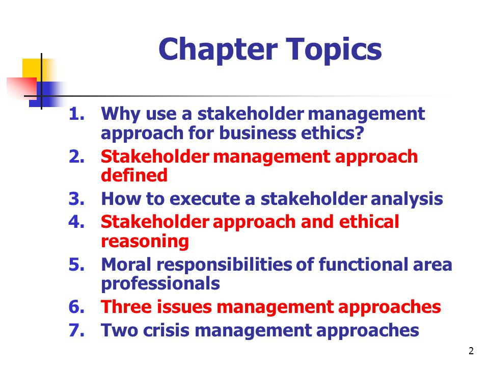 ethical branch stakeholder theory Stakeholder theory is a theory of ethics that addresses values in managing an organisation the stakeholder theory identifies groups of people who have an interest in a corporation, and describes methods to understand their needs and expectations.