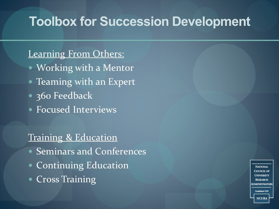 Toolbox for Succession Development