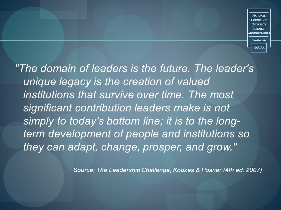 The domain of leaders is the future