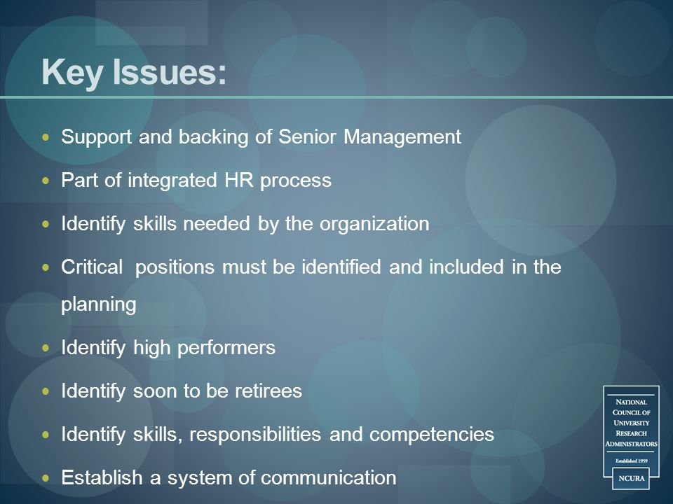 Key Issues: Support and backing of Senior Management
