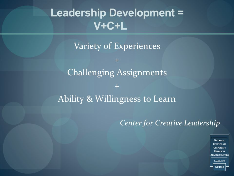 Leadership Development = V+C+L