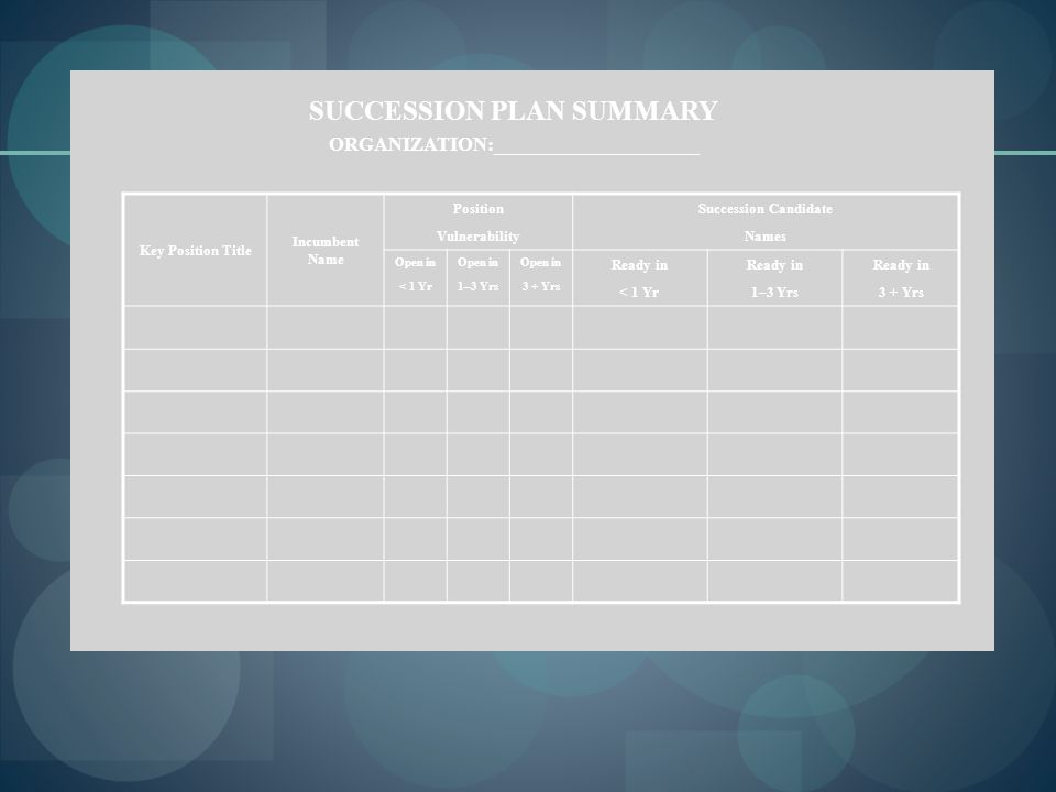 SUCCESSION PLAN SUMMARY ORGANIZATION:_____________________