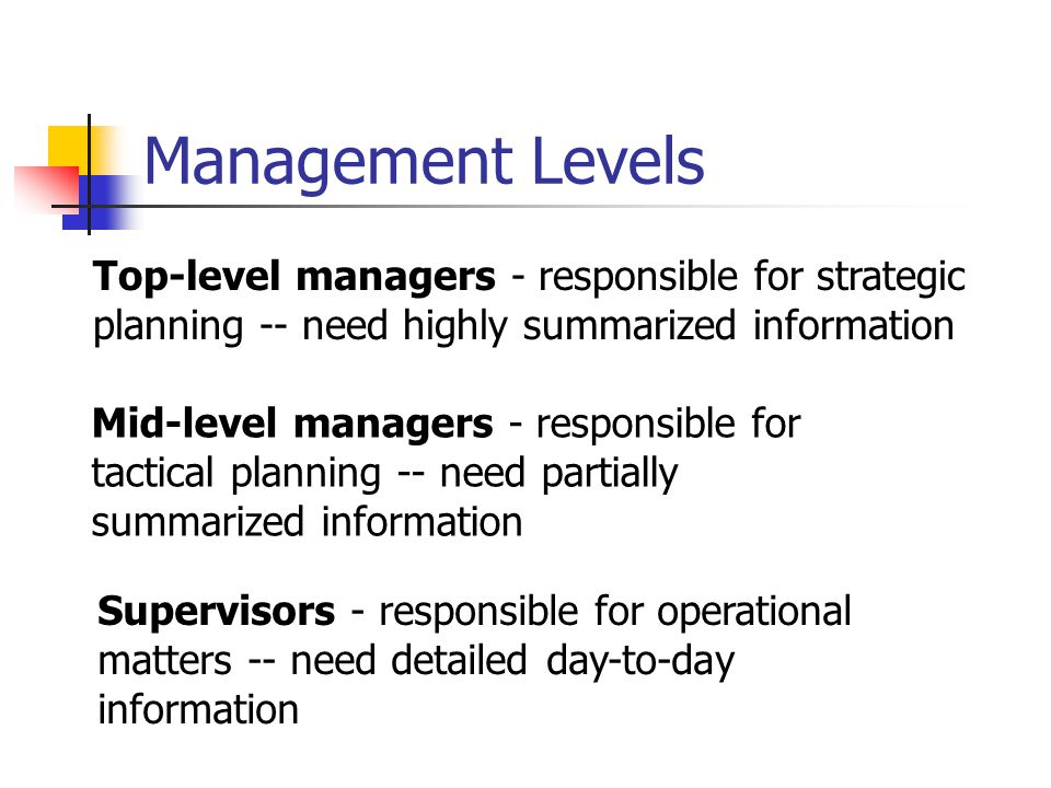 Management Levels Top-level managers - responsible for strategic planning -- need highly summarized information.