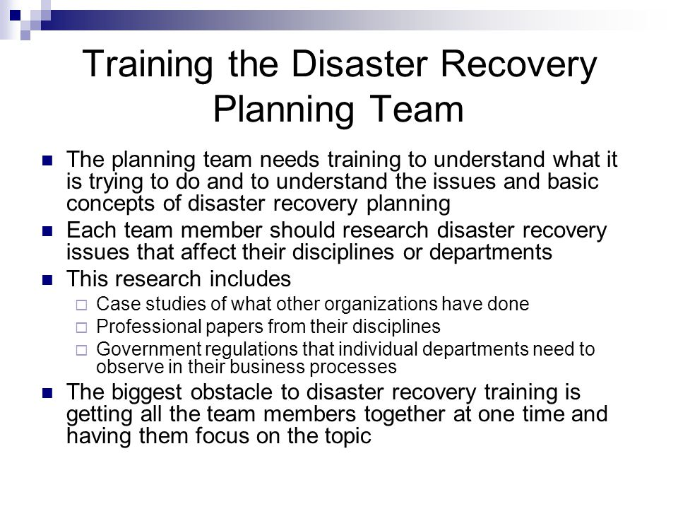 recovery team essay Contingency planning plays a crucial part in business continuity this is because it helps organizations to manage risk elements that occur within an enterprisesample research paper on.