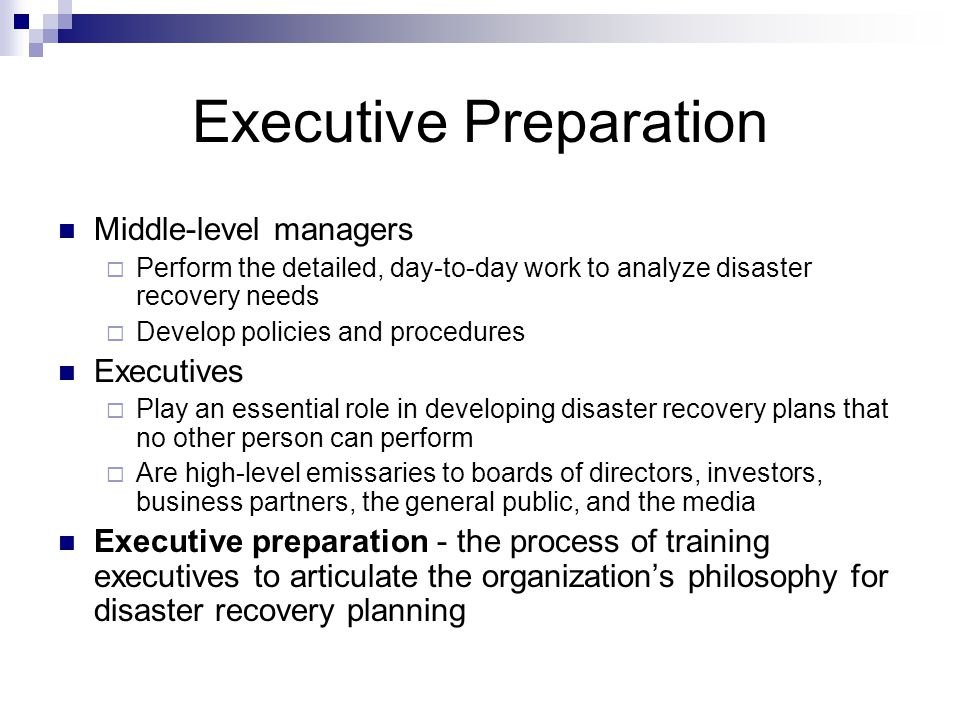 Preparing To Develop A Disaster Recovery Plan  Ppt Download