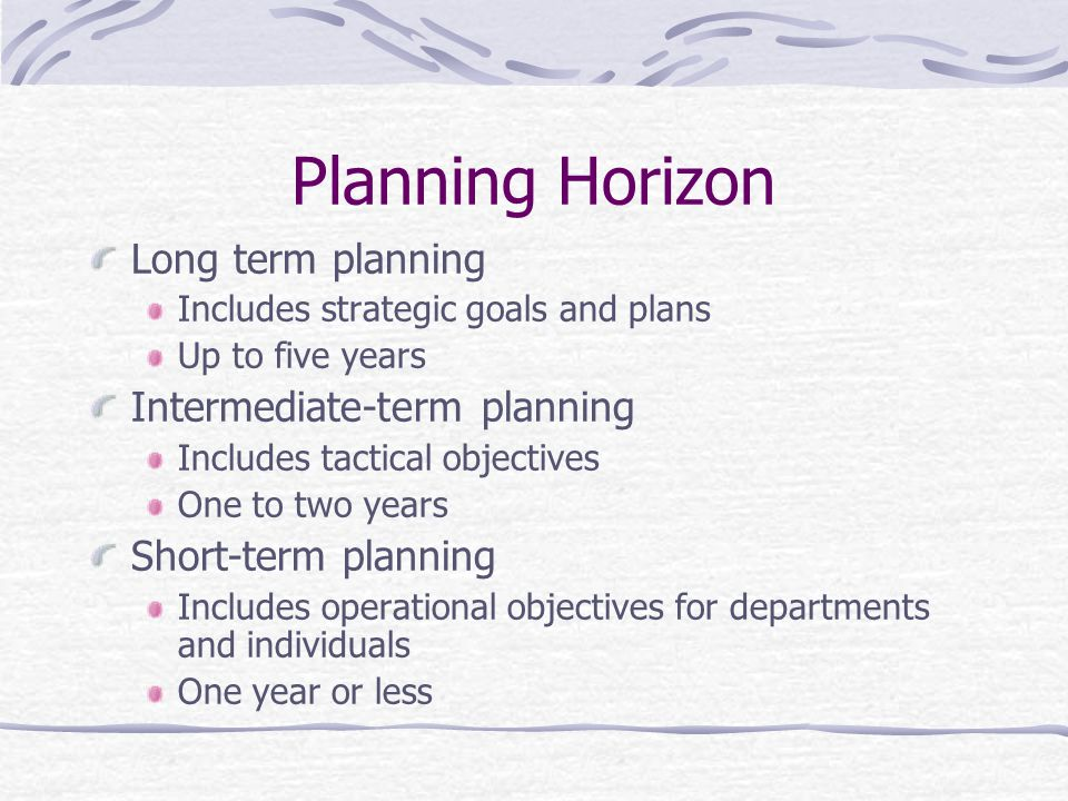 Planning Horizon Long term planning Intermediate-term planning