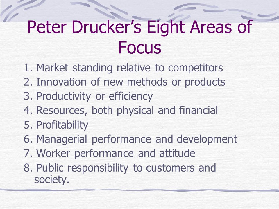 Peter Drucker's Eight Areas of Focus