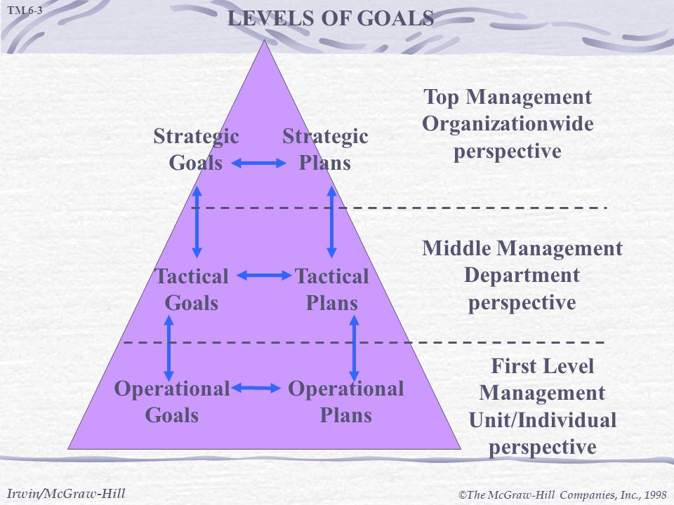 LEVELS OF GOALS Operational Goals Plans Tactical Strategic
