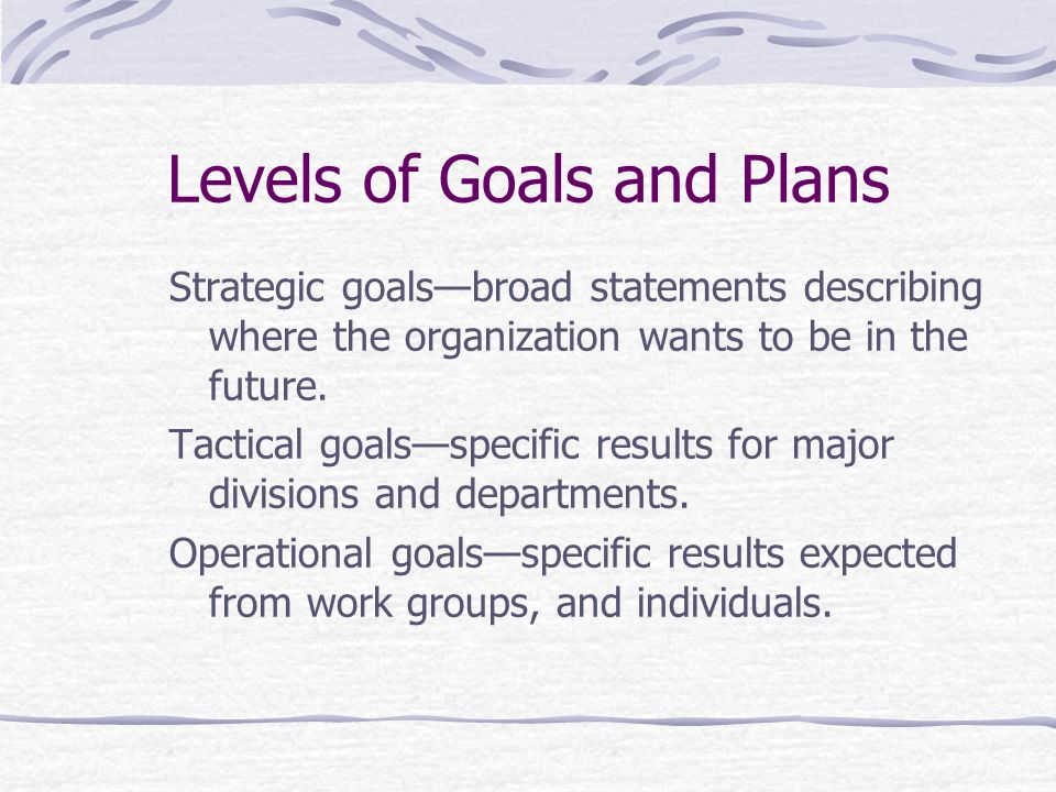 Levels of Goals and Plans