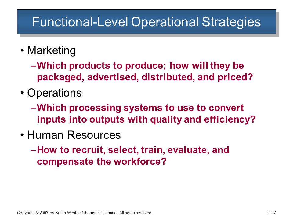 Functional-Level Operational Strategies