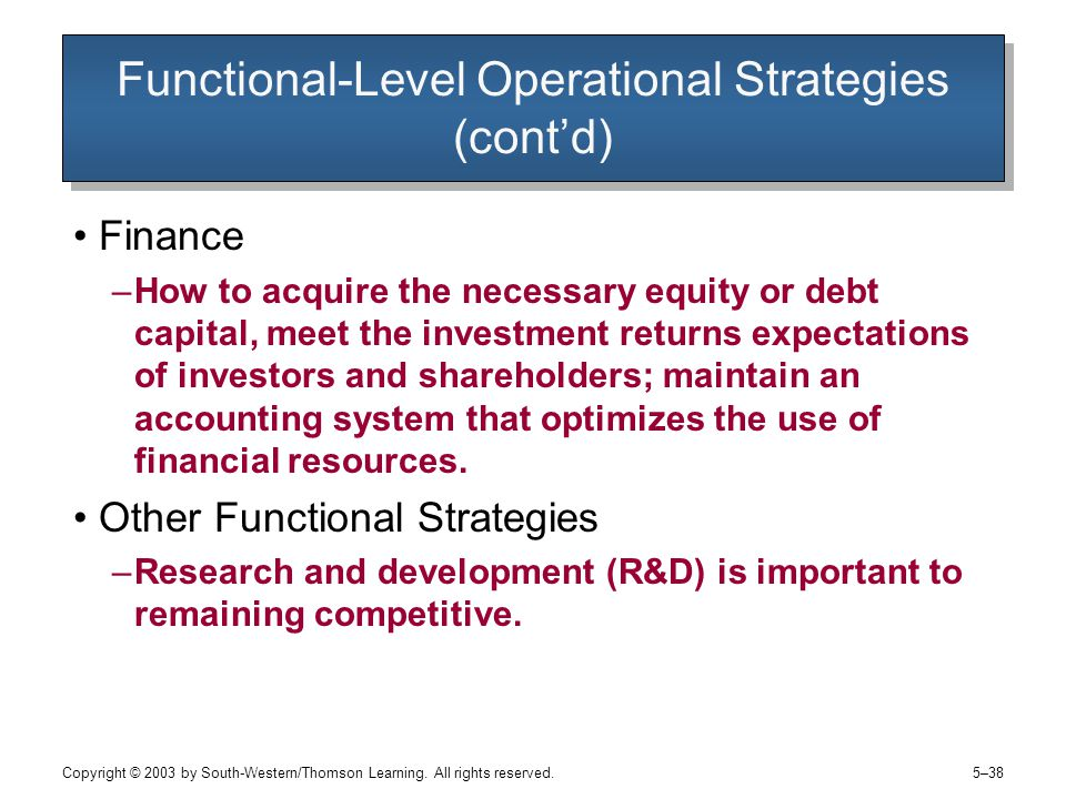 Functional-Level Operational Strategies (cont'd)