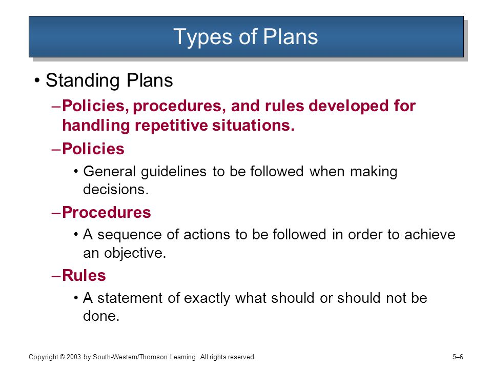 Types of Plans Standing Plans