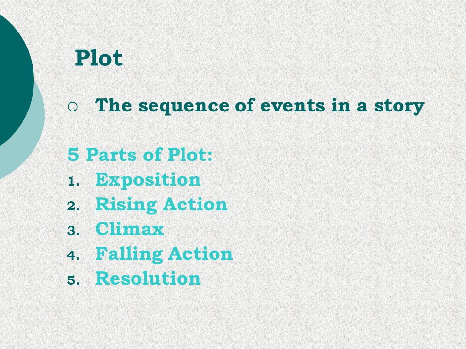 Plot The sequence of events in a story 5 Parts of Plot: Exposition