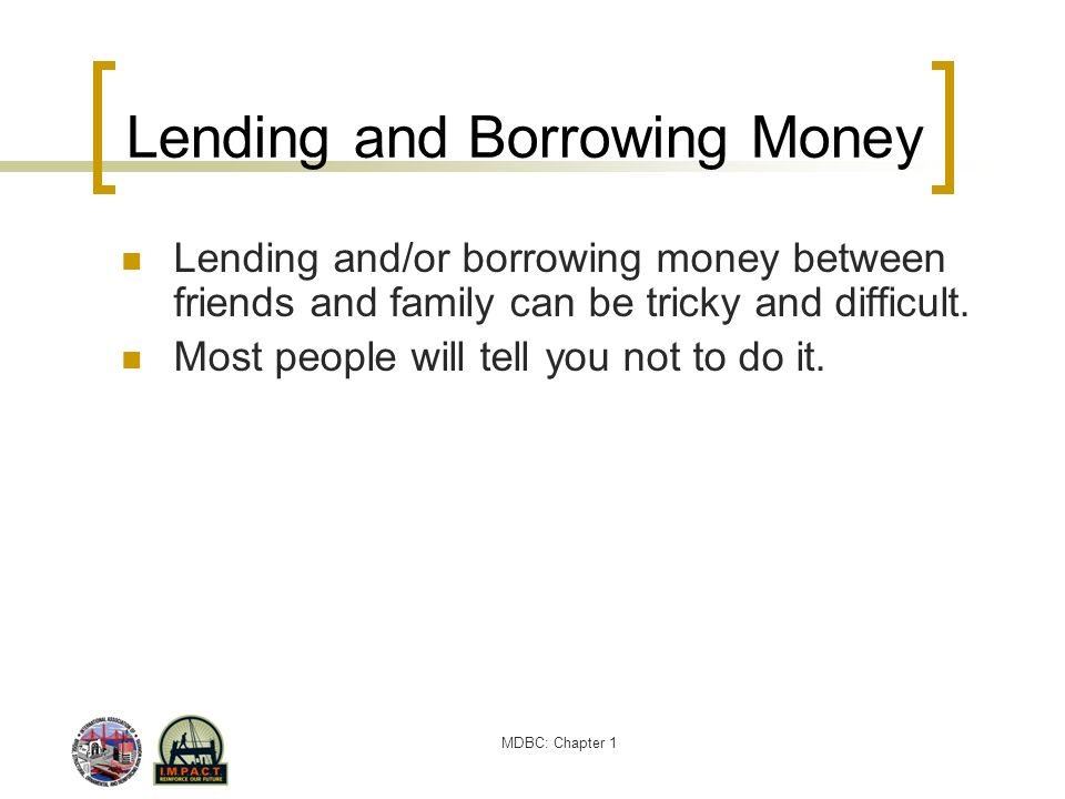 Lending and Borrowing Money
