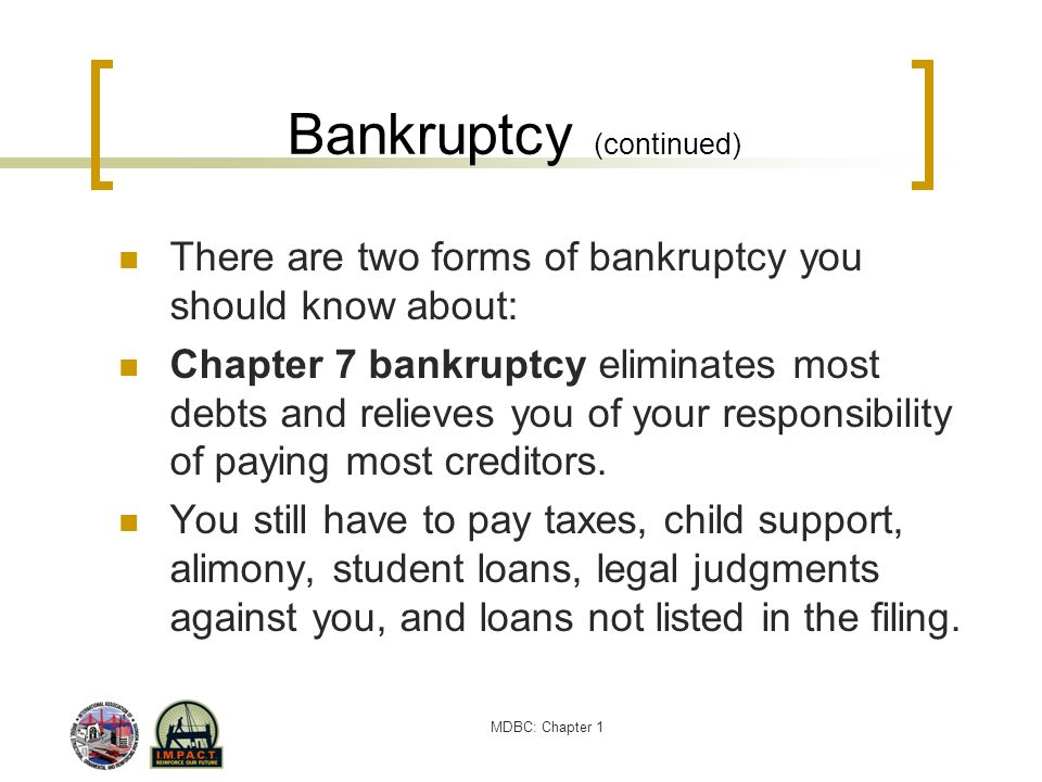 Bankruptcy (continued)