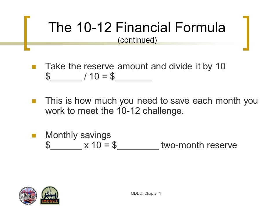 The 10-12 Financial Formula (continued)