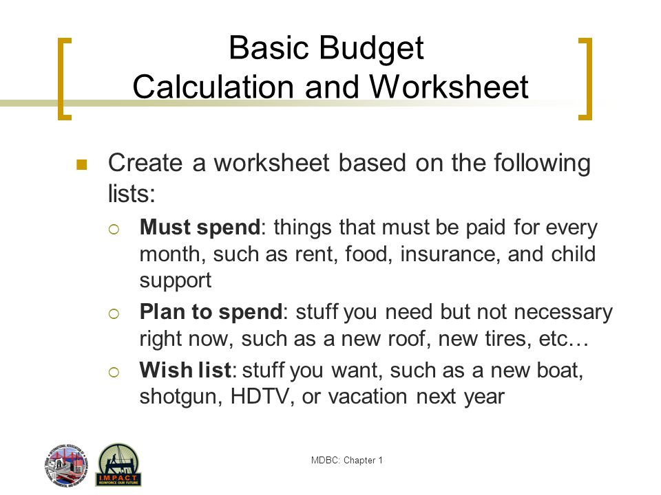 Basic Budget Calculation and Worksheet