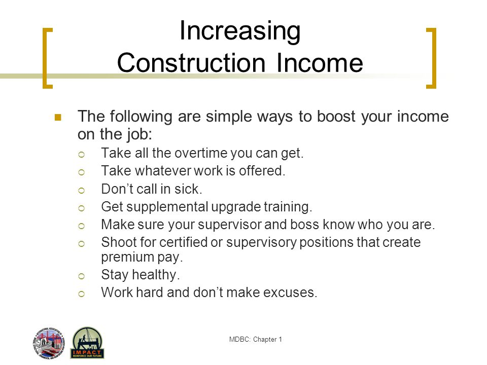 Increasing Construction Income