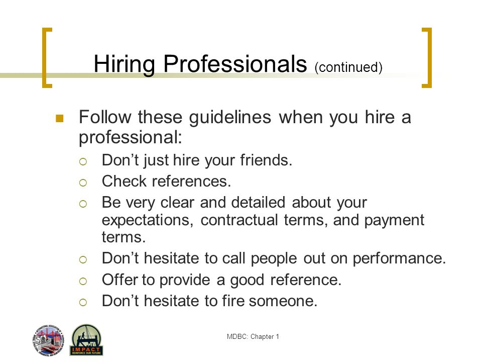 Hiring Professionals (continued)