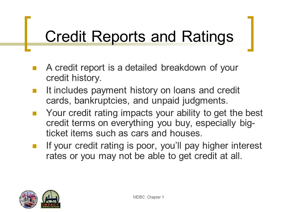 Credit Reports and Ratings