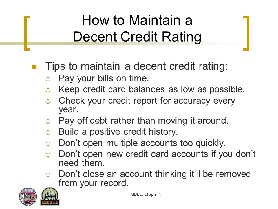 How to Maintain a Decent Credit Rating