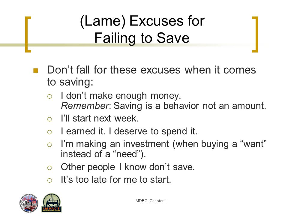 (Lame) Excuses for Failing to Save