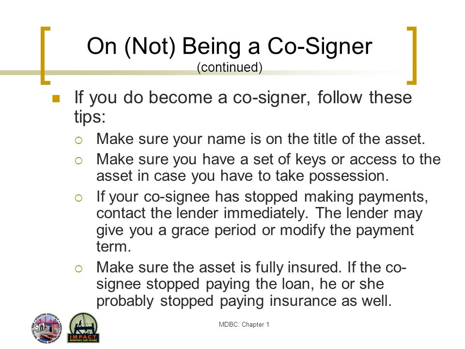 On (Not) Being a Co-Signer (continued)
