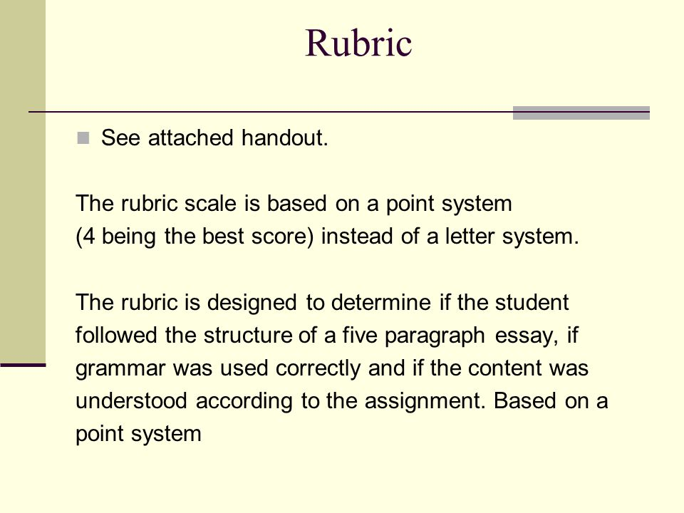 rubric for the five-paragraph essay