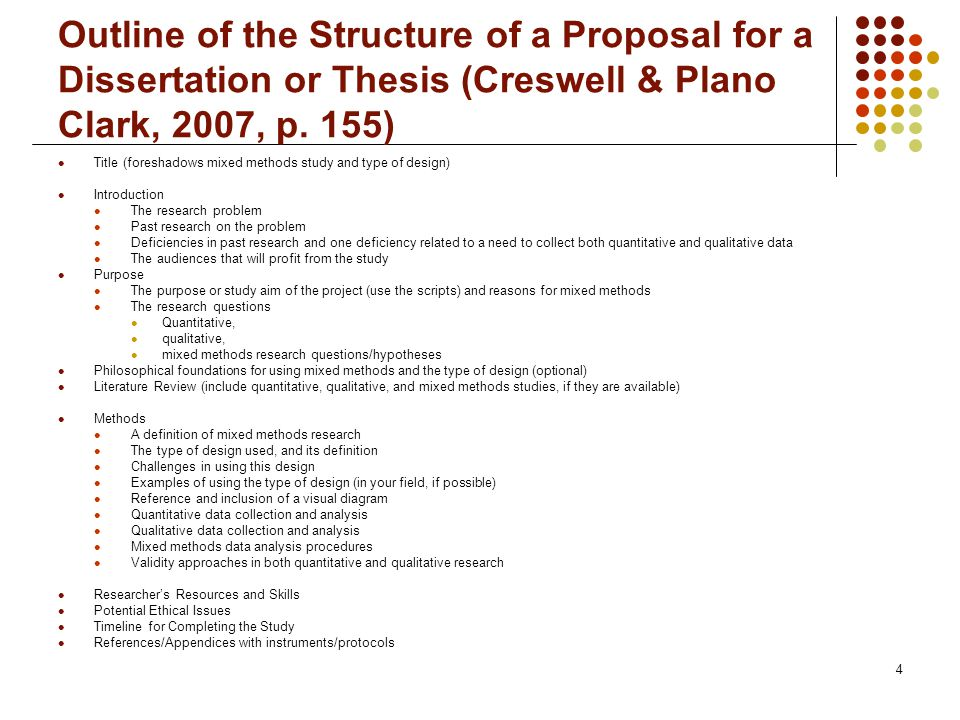 http://slideplayer.com/slide/4998565/16/images/4/Outline%20of%20the%20Structure%20of%20a%20Proposal%20for%20a%20Dissertation%20or%20Thesis%20(Creswell%20\u0026%20Plano%20Clark,%202007,%20p.%20155).jpg
