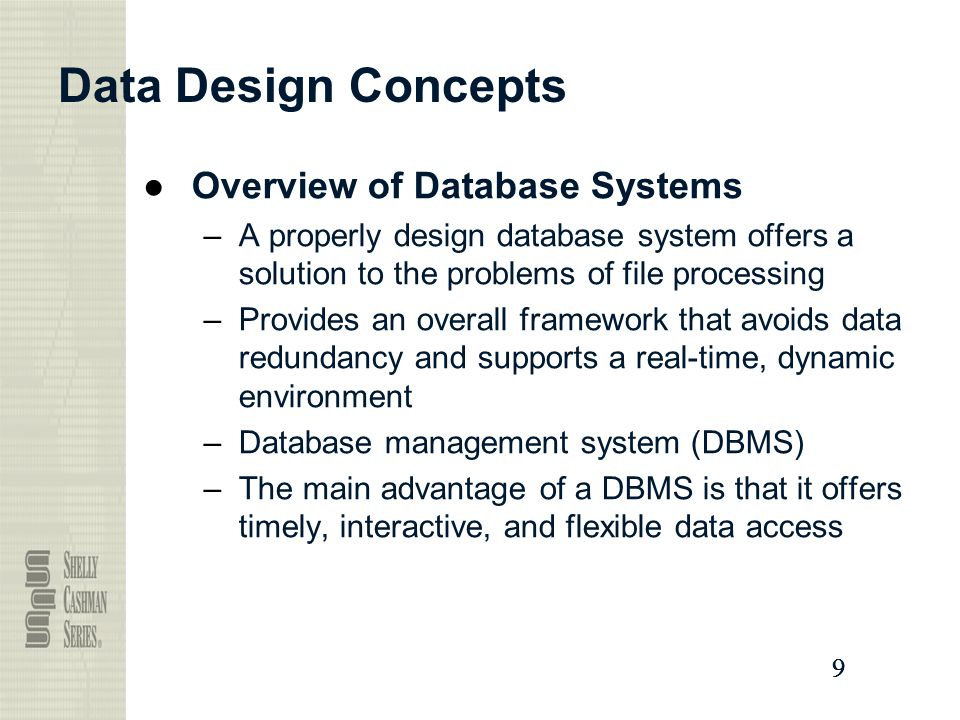 concepts of database systems These concepts include aspects of database design, database languages, and database-system implementation this text is intended for a first course in databases at the junior or senior undergraduate, or first-year graduate, level.