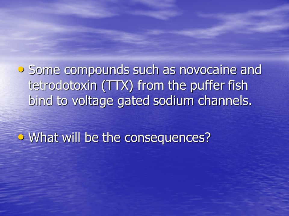 Some compounds such as novocaine and tetrodotoxin (TTX) from the puffer fish bind to voltage gated sodium channels.