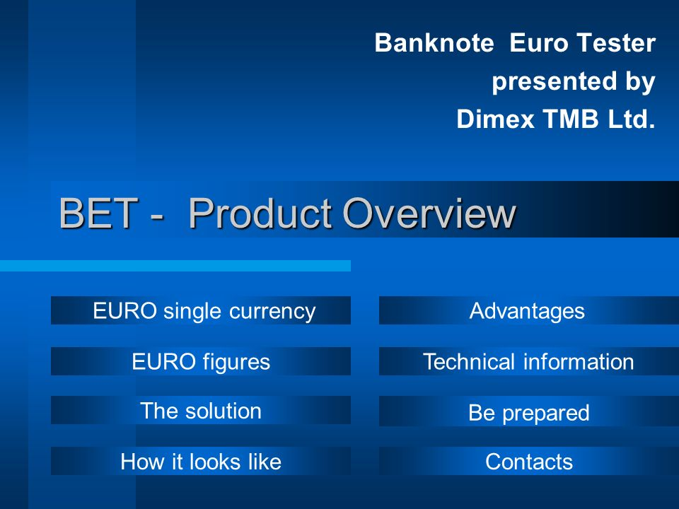 Banknote Euro Tester presented by Dimex TMB Ltd.