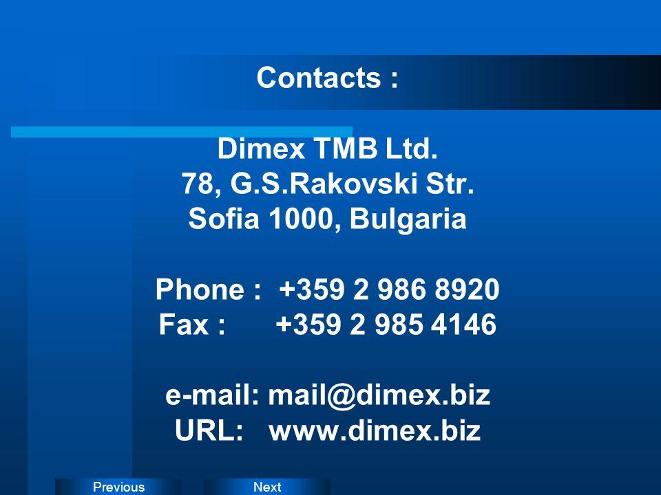 Contacts : Dimex TMB Ltd. 78, G. S. Rakovski Str