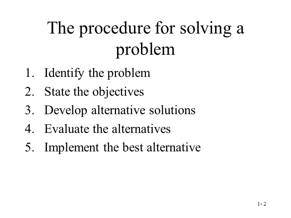 The procedure for solving a problem