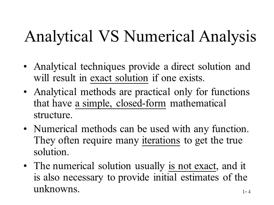 Analytical VS Numerical Analysis