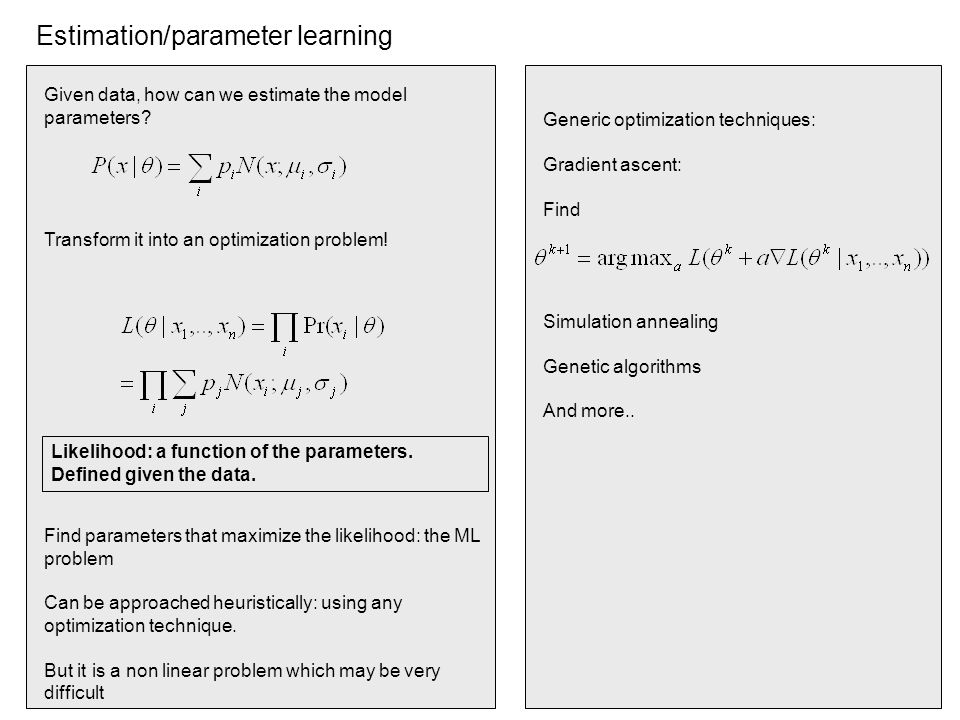 Estimation/parameter learning