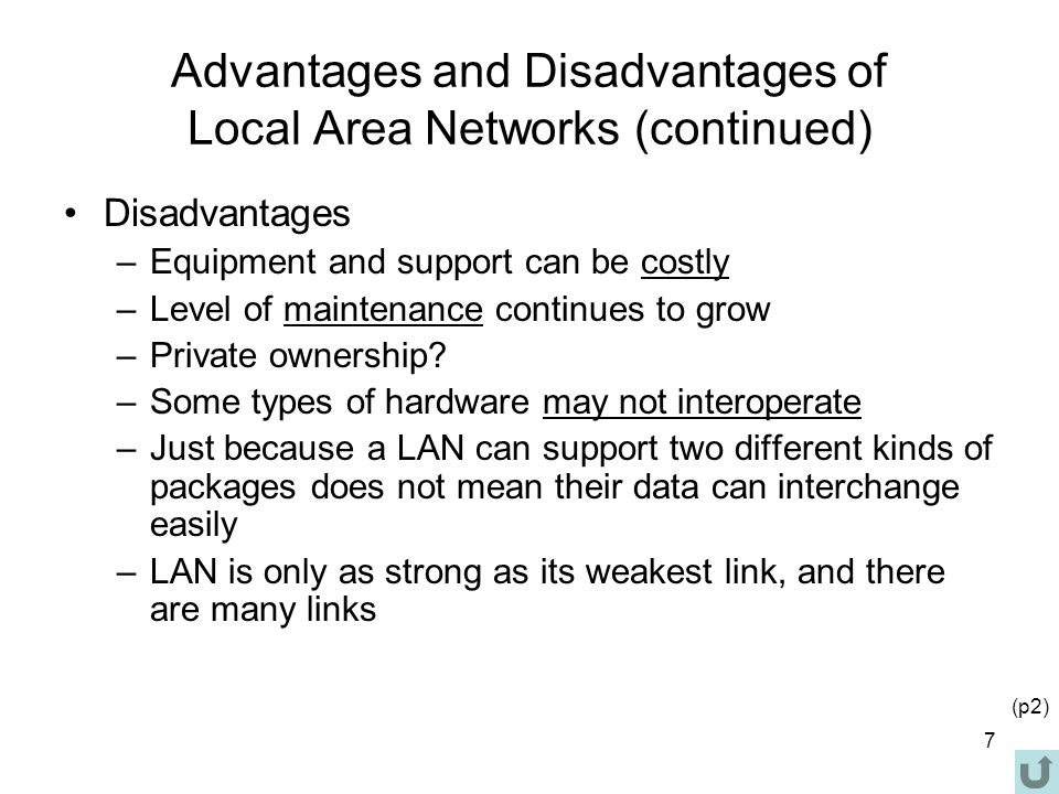Advantages and disadvantages of different network types