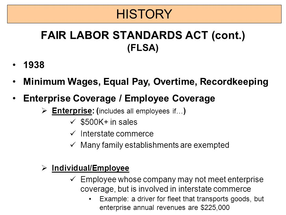 a history of the fair labor standards act The fair labor standards act: a historical sketch of the overtime pay requirements of section 13(a)(1) keywords fair labor standards act, flsa, overtime, pay, congress, dol, professional, work, employee, federal, wage.